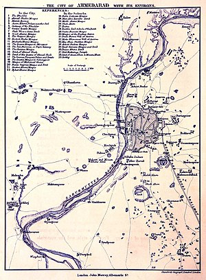 Timeline of Ahmedabad - Ahmedabad City and Environ Map 1866