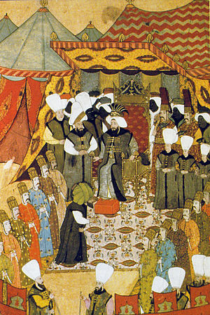 Ahmed III - Sultan Ahmed III at a reception, painted in 1720