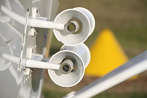 Venturi effect - A pair of venturi tubes on a light aircraft, used to provide airflow for air-driven gyroscopic instruments