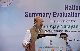 Ajay Narayan Jha - Jha addressing an event at Gandhinagar, Gujarat in March 2017.
