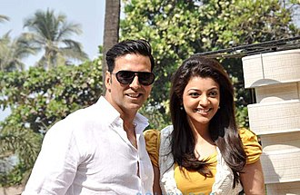 Special 26 - Kajal and Akshay during the promotions of the movie.