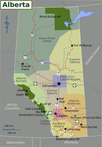 Alberta Map With Cities