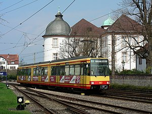 Alb Valley Railway - A train of the Alb Valley Railway passes Ettlingen palace. This section has been served since 1887