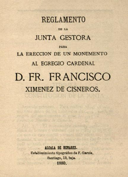 File:Alcalá de Henares (1880) Reglamento Junta Gestora monumento al Cardenal Cisneros.png