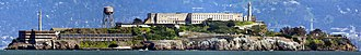 Image stitching - Alcatraz Island, seen in an example of a panorama created by image stitching