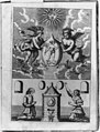 Alchemical scene showing two putti holding philosopher's stone containing image of Hermes, below which are a man and a woman kneeling before furnace where transmutation is to take place LCCN96504158.jpg