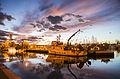 All'ormeggio sul porto canale, alla luce del tramonto.jpg