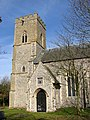 All Saints church in Snetterton - porch and tower - geograph.org.uk - 1762869.jpg