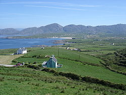 View over Allihies. Ballydonegan Bay is on the left