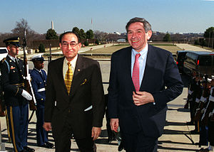 Alwi Shihab - Indonesian Minister of Foreign Affairs Alwi Shihab (left) is escorted through an honor cordon and into the Pentagon by Deputy Secretary of Defense Paul Wolfowitz on March 12, 2001