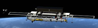 Space dock - Concept design for a United States space dock - a large spaceship is being constructed by robotic arms underneath the main truss, and a spaceplane is entering an enclosed hangar.