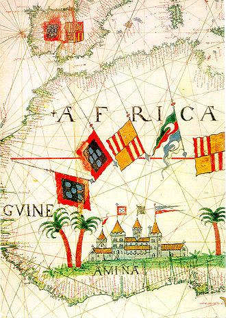 Diogo de Azambuja - Detail of the Portuguese possession of São Jorge da Mina (A Mina), in a 16th-century Portuguese map