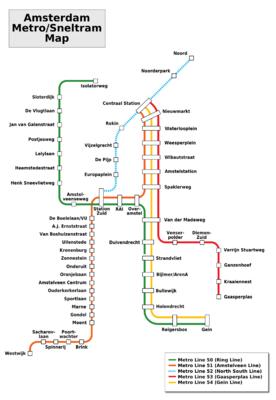 Amsterdam Metro/Sneltram Map