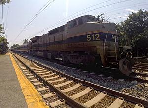 "Pennsylvanian (train) - GE P32BWH (Dash 8-32BWH) powered Amtrak ""Pennsylvanian"" passing Haverford, Pennsylvania"