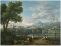 An Italianate landscape with women conversing on a path by a brook, a lake and mountain beyond.png