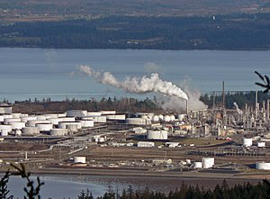 Oil refinery - Storage tanks and towers at Shell Puget Sound Refinery (Shell Oil Company), Anacortes, Washington