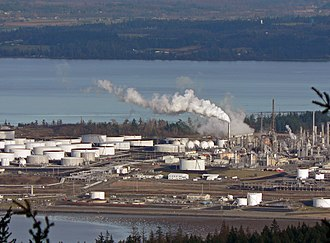 Shell Oil Company - Storage tanks and towers at Shell Puget Sound Refinery, Anacortes, Washington