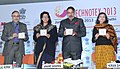 Anand Sharma launching the CDs on COEs, at the inauguration of the 'Technotex 2013'-International Exhibition and Conference, in New Delhi. The Secretary, Ministry of Textiles.jpg