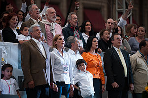 Miguel Ángel Mancera - Mancera (center) with López Obrador (far left), Ebrard (far right), and others at López Obrador presidential campaign, 2012. The event took place on June 27, 2012, in Zócalo, Mexico City.