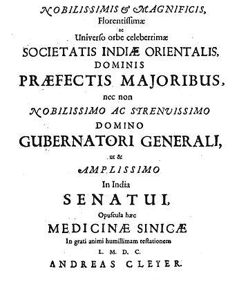 """Andreas Cleyer - Frontispiece of the book: """"Specimen Medicinae Sinicae"""", 1682"""
