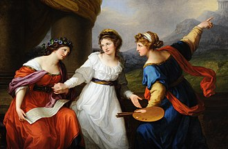 Angelica Kauffman - Self-Portrait Hesitating Between Painting and Music (1794). Oil on canvas by Angelica Kauffman.