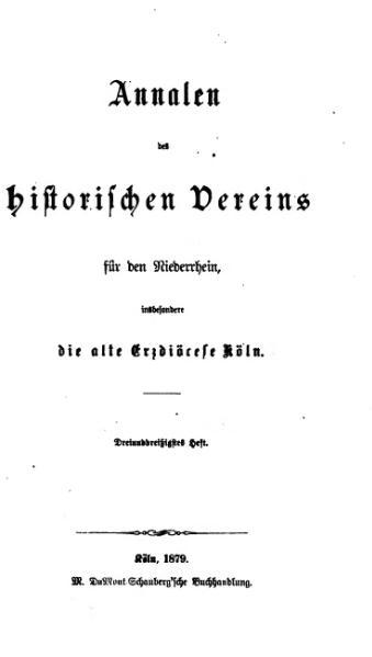 File:Annalen des Historischen Vereins für den Niederrhein 33 (1879).djvu