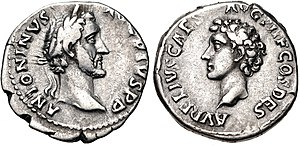 Coin of Antoninus Pius, Marcus' predecessor, depicting Antoninus on the obverse and Marcus on the reverse.