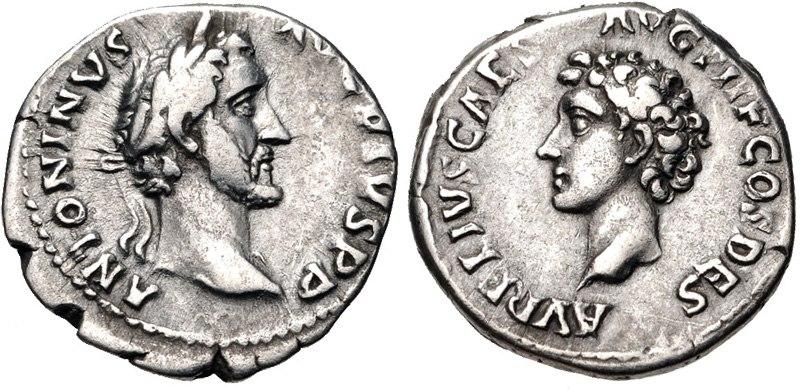 Antoninus Pius, with Marcus Aurelius Caesar, denarius, AD 139, RIC III 412a