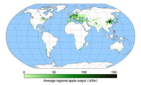 List of countries by apple production wikipedia a map of world apple producing regions in 2000 gumiabroncs Images