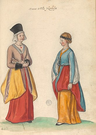 "A 16th century perception of Irish women and girls, illustrated in the manuscript ""Theatre de tous les peuples et nations de la terre avec leurs habits et ornemens divers, tant anciens que modernes, diligemment depeints au naturel"". Painted by Lucas d'Heere in the 2nd half of the 16th century. Preserved in the Ghent University Library. Archive-ugent-be-79D46426-CC9D-11E3-B56B-4FBAD43445F2 DS-25 (cropped).jpg"