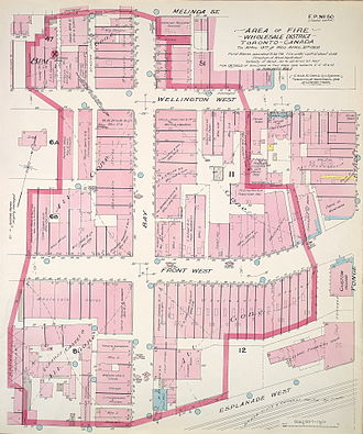 Great Fire of Toronto (1904) - Image: Area of Great Toronto Fire of 1904 showing the Wholesale district affected (MAPS R 71)