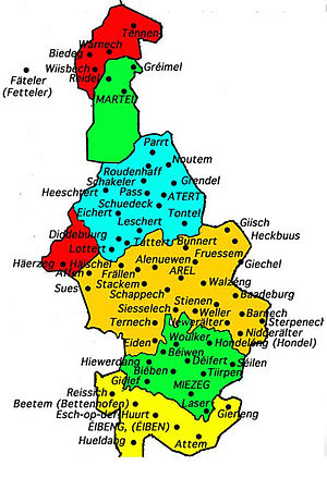 Arelerland - Map of the Luxembourgish language area within Belgium