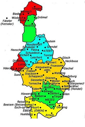Arelerland - Map of the Luxembourgish language area within Belgium