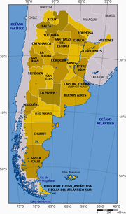Argentina and its provinces, including its claim to the Malvinas (Falkland Islands).