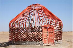"""Yurt - A Qaraqalpaq bentwood type """"yourte"""" in Khwarezm (or Karakalpakstan), Uzbekistan"""