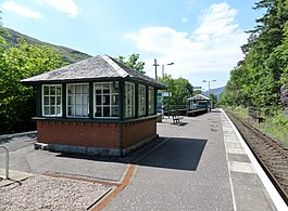 Arrochar and Tarbet railway station, view along platform towards Glen Douglas and Glasgow.jpg