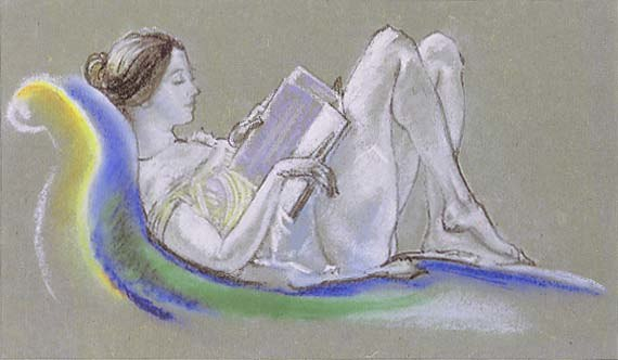 Arthur B. Davies - Reclining Woman (Drawing), 1911