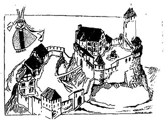Sausenburg Castle - An artist's rendition of the castle shortly after its completion