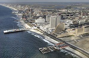 South Jersey - Aerial view of Atlantic City, a seaside resort famous for its boardwalk and casino gambling.