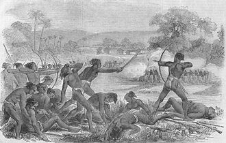 Santhal rebellion against Zamindari system during British Company Raj in 1855 Attack by 600 Santhals upon a party of 50 sepoys, 40th regiment native infantry.jpg