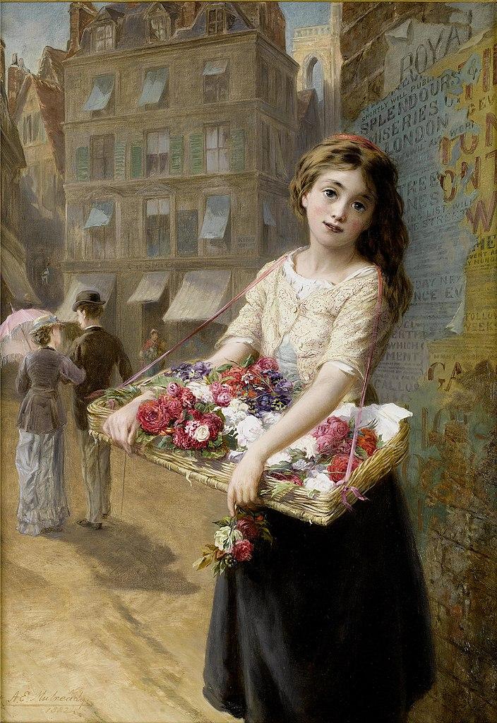 Augustus Edwin Mulready  - Page 2 704px-Augustus_Edwin_Mulready_A_street_flower_seller_1882