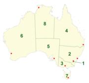 Η πρωτεύουσα και οι πολιτείες της Αυστραλίας: [1] Καμπέρα [2] Νέα Νότια Ουαλλία [3] Βικτώρια [4] Κουίνσλαντ [5] Νότια Αυστραλία [6] Δυτική Αυστραλία [7] Τασμανία [8] Βόρεια Επικράτεια