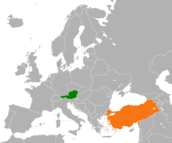 Map indicating locations of Austria and Turkey