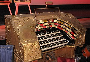 Page Organ Company - Console of the 4-manual, 16 rank Page Theatre Organ at the Catalina Casino, in Avalon, California.