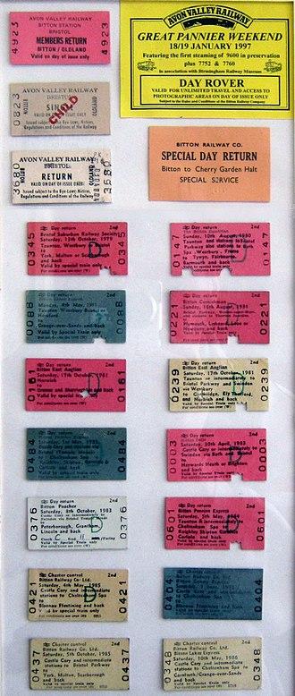 Avon Valley Railway - Exposition of AVR Edmondson tickets from 1979—1986