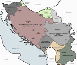Occupation and partition of Yugoslavia after the Italian surrender in September 1943. The German occupation of Montenegro is shown in grey in the southern coastal region.