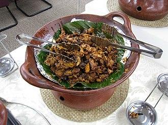 Ayam kecap - Ayam kecap panggang served in a buffet in Jakarta.