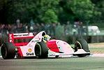 Ayrton Senna - Mclaren MP4-8 during practice for the 1993 British Grand Prix (32873577043).jpg