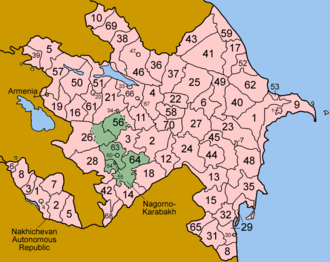 Administrative divisions of Azerbaijan - Image: Azerbaijan districts numbered