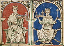 Mid 13th century illustration of John, King of England and his successor son, Henry III, King of England.
